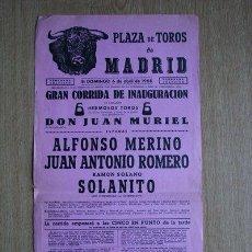 Carteles Toros: CARTEL DE TOROS DE MADRID. 1958.. Lote 22370280