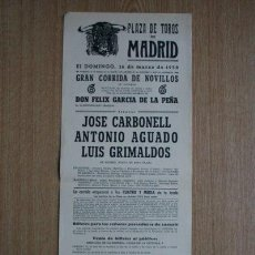 Carteles Toros: CARTEL DE TOROS DE MADRID. 1958.. Lote 22370306