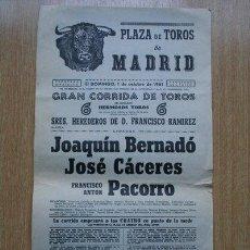 Carteles Toros: CARTEL DE TOROS DE MADRID. 1961.. Lote 22401096