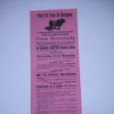 Affiches Tauromachie: CARTEL PLAZA TOROS CARTAGENA.6 SEPTIEMBRE 1914 GRAN BECERRADA CARTAGENERITO,CAMINERITO. 42,5X16 CM . Lote 22686289