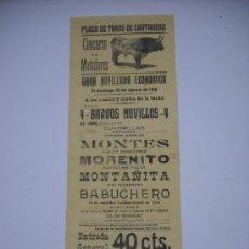 Carteles Toros: CARTEL PLAZA TOROS CARTAGENA.29 AGOSTO 1915. NOVILLADA MONTES,MORENITO,MONTAÑITA,BABUCHERO 43X16 CM . Lote 22686441