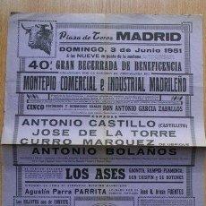 Carteles Toros: CARTEL DE TOROS DE MADRID. 1951.. Lote 22712938