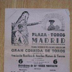 Carteles Toros: PROGRAMA DE TOROS DE MANO DE MADRID. 1950. AUXILIOS MUTOS DE TOREROS.. Lote 22713400
