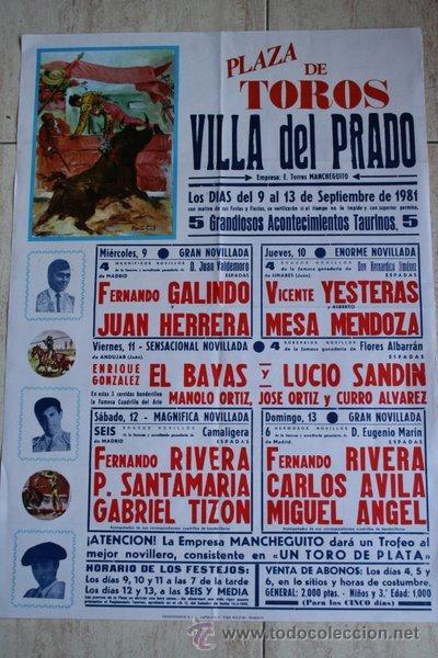 CARTEL DE TOROS DE VILLA DEL PRADO. 1981. (Coleccionismo - Carteles Gran Formato - Carteles Toros)