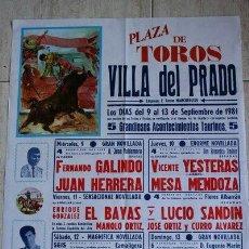 Carteles Toros: CARTEL DE TOROS DE VILLA DEL PRADO. 1981.. Lote 23442269