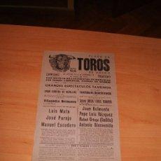 Carteles Toros: PLAZA DE TOROS DE MADRID 1942 BENEFICENCIA. Lote 27554080