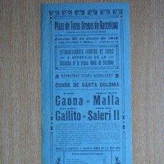 Carteles Toros: CARTEL DE DE TOROS DE BARCELONA. 1918.. Lote 23432579