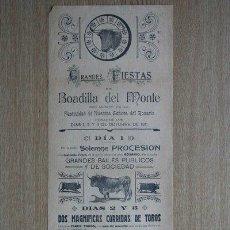 Carteles Toros: CARTEL DE DE TOROS DE BOADILLA DEL MONTE. 1911.. Lote 23434017
