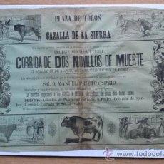 Carteles Toros: CARTEL DE DE TOROS DE CAZALLA DE LA SIERRA. 1889.. Lote 24379408