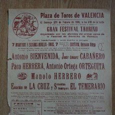 Carteles Toros: CARTEL DE TOROS DE VALENCIA. 1965.. Lote 24433553