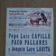Carteles Toros: CARTEL DE TOROS DE VALENCIA. 1965.. Lote 24449471