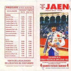 Carteles Toros: CARTEL FERIA DE SAN LUCAS DE JAEN 1993. Lote 27427507