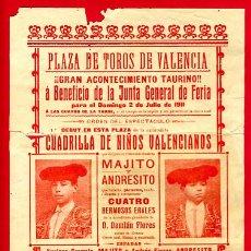 Carteles Toros: CARTEL TOROS, PLAZA TOROS VALENCIA , FERIA DE 1911 , ORIGINAL ,C. Lote 24716250