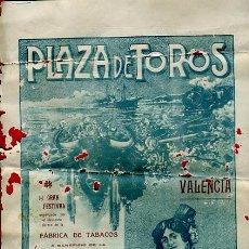 Carteles Toros: CARTEL TOROS, PLAZA TOROS VALENCIA , 1915 , ORIGINAL ,C. Lote 24716904