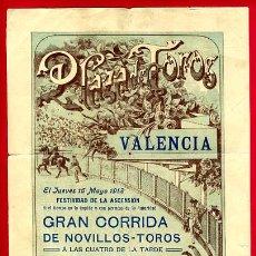 Affiches Tauromachie: CARTEL TOROS, PLAZA TOROS VALENCIA , 1912 D. PEREA , ORIGINAL ,C. Lote 24717419