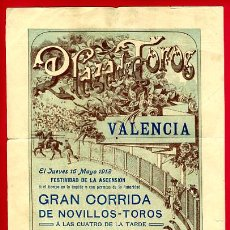 Carteles Toros: CARTEL TOROS, PLAZA TOROS VALENCIA , 1912 D. PEREA , ORIGINAL ,C. Lote 24717419