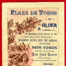 Carteles Toros: CARTEL TOROS, PLAZA TOROS VALENCIA , 1911 , ORIGINAL ,C. Lote 24717481