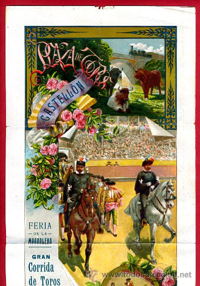 CARTEL TOROS, PLAZA TOROS CASTELLON , FERIA DE 1912 D. PEREA , ORIGINAL ,C (Coleccionismo - Carteles Gran Formato - Carteles Toros)