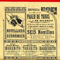 Carteles Toros: CARTEL TOROS, PLAZA TOROS VALENCIA , 1911 , ORIGINAL ,C. Lote 24717720