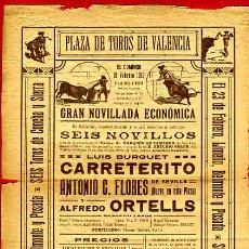 Carteles Toros: CARTEL TOROS, PLAZA TOROS VALENCIA , FERIA 1913 , ORIGINAL ,C. Lote 24717827