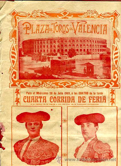 CARTEL TOROS, PLAZA TOROS VALENCIA , FERIA 1909 , ORIGINAL ,C (Coleccionismo - Carteles Gran Formato - Carteles Toros)