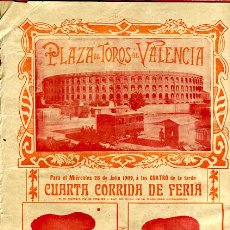 Carteles Toros: CARTEL TOROS, PLAZA TOROS VALENCIA , FERIA 1909 , ORIGINAL ,C. Lote 24718008
