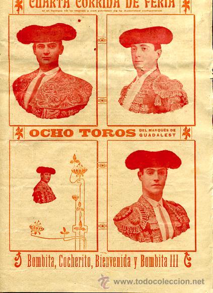 Carteles Toros: CARTEL TOROS, PLAZA TOROS VALENCIA , FERIA 1909 , ORIGINAL ,C - Foto 2 - 24718008