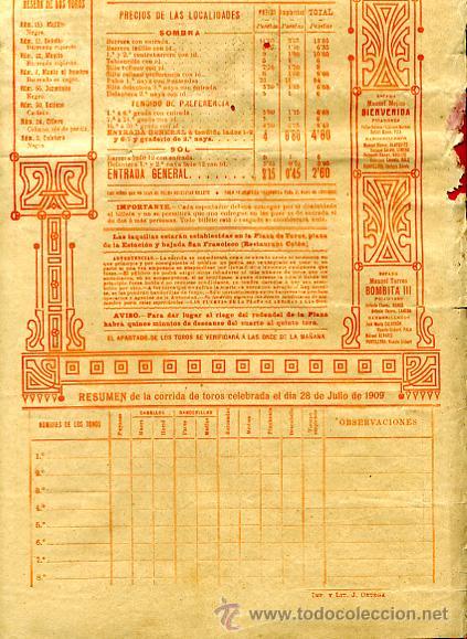 Carteles Toros: CARTEL TOROS, PLAZA TOROS VALENCIA , FERIA 1909 , ORIGINAL ,C - Foto 4 - 24718008