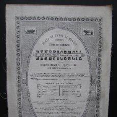 Carteles Toros: CARTEL TOROS CORRIDA BENEFICENCIA MADRID. 1888. GUERRITA, LAGARTIJO. DE MUSEO. Lote 26302349