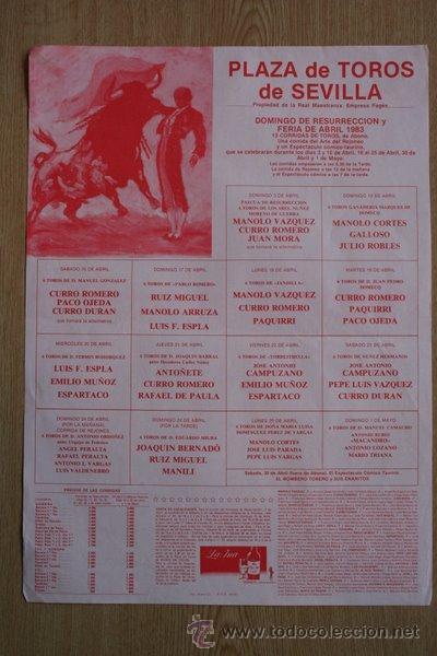 CARTEL DE TOROS DE SEVILLA. 1983. FERIA DE ABRIL. (Coleccionismo - Carteles Gran Formato - Carteles Toros)