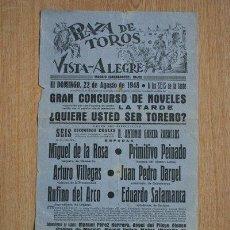 Carteles Toros: CARTEL DE TOROS DE VISTA-ALEGRE. MADRID. 22 DE AGOSTO DE 1948. M. DE LA ROSA, PRIMITIVO PEINADO, ETC. Lote 25764273