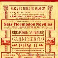 Carteles Toros: CARTEL TOROS , PLAZA DE VALENCIA 1910 , NOVILLADAS ,Q. Lote 25793996