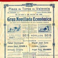Carteles Toros: CARTEL TOROS , PLAZA DE VALENCIA 1916 , NOVILLADAS ,Q. Lote 25794013
