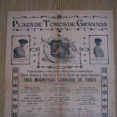Carteles Toros: CARTEL DE TOROS DE GRANADA. 1911. STMO. CORPUS CHRISTI Y FERIA REAL DE ESTA CAPITAL. . Lote 25944852
