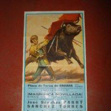 Carteles Toros: CARTEL DE MAGNIFICA NOVILLADA DE 1967 EN LA PLAZA DE TOROS DE ONDARA , JOYA LEVANTINA.. Lote 26122232