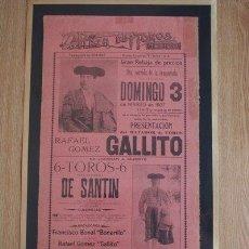 Carteles Toros: CARTEL DE TOROS DE MÉXICO. 1907. PRESENTACIÓN DEL MATADOR DE TOROS RAFAEL GÓMEZ GALLITO.. Lote 26658354