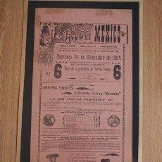 Carteles Toros: CARTEL DE TOROS DE MÉXICO. 1905. . Lote 26658359