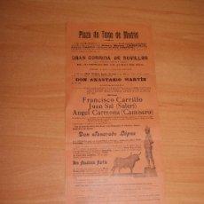 Cartazes Touros: PLAZA DE TOROS DE MADRID 23 DE JUNIO DE 1901 DE DON TANCREDO. Lote 26659292