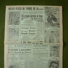 Carteles Toros: CARTEL NUEVA PLAZA DE TOROS DE GRANADA 1944 MANOLETE ORTEGA BELMONTE BIENVENIDA CASADO. Lote 26663887