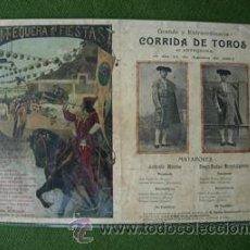 Carteles Toros: TOROS ANTEQUERA 1904 , ANTONIO MONTES , DIEGO RODAS ( MORENITO ALGECIRAS ). Lote 26860154