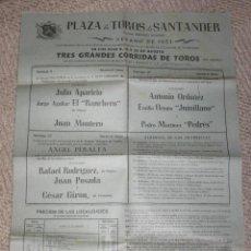 Carteles Toros: PLAZA DE TOROS DE SANTANDER, 1953, ANTONIO ORDÓÑEZ, APARICIO, ANGEL PERALTA 30 X 42 CMS.. Lote 27398680