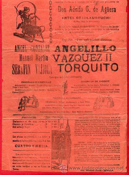 Carteles Toros: CARTEL TOROS, PLAZA DE SEVILLA , 1912 , ORIGINAL ANTIGUO, D20 - Foto 2 - 27735556