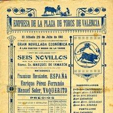 Carteles Toros: CARTEL TOROS, PLAZA DE VALENCIA , 1911 , ORIGINAL ANTIGUO, D2. Lote 27735227