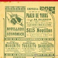 Carteles Toros: CARTEL TOROS, PLAZA DE VALENCIA , 1911 , ORIGINAL ANTIGUO, D6. Lote 27735290