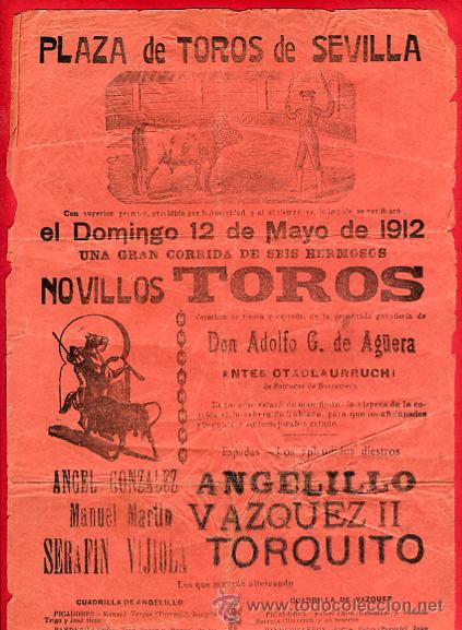 CARTEL TOROS, PLAZA DE SEVILLA , 1912 , ORIGINAL ANTIGUO, D20 (Coleccionismo - Carteles Gran Formato - Carteles Toros)