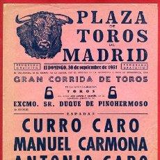 Carteles Toros: CARTEL TOROS , PLAZA DE MADRID , 1951 , ORIGINAL ANTIGUO, D38. Lote 27736035