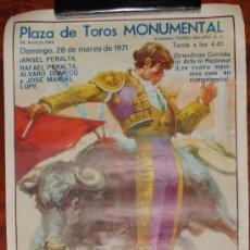 Carteles Toros: CARTEL CORRIDA DE TOROS EN LA MONUMENTAL DE BARCELONA. 23 DE MARZO DE 1971. 95X55CM. . Lote 28269088