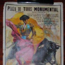 Carteles Toros: CARTEL CORRIDA DE TOROS EN LA MONUMENTAL DE BARCELONA. 19 DE AGOSTO DE 1971. 95X55CM. . Lote 27823188
