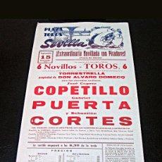 Carteles Toros: CARTEL TOROS SEVILLA 1974 /// COPETILLO, PUERTA, CORTÉS ///. Lote 28267865