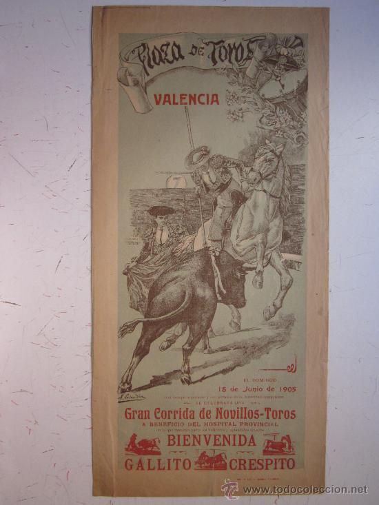 CARTEL TOROS - VALENCIA - JUNIO DE 1905 (Coleccionismo - Carteles Gran Formato - Carteles Toros)